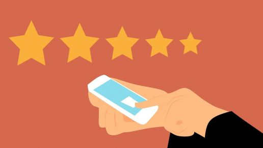 graphic of someone leaving a review on a mobile phone