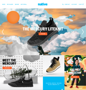 Native Shoes Website Homepage