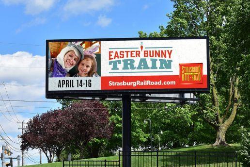 Easter Bunny Train billboard for Strasburg Rail Road