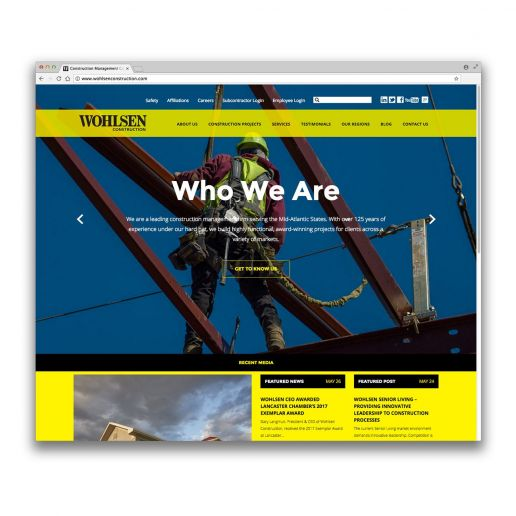 wohlsen construction website screenshot