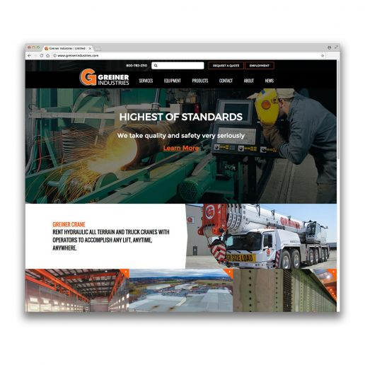greiner industries website screenshot