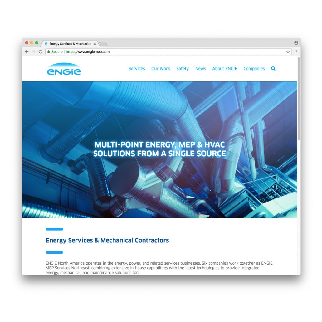 A screenshot of the ENGIE MEP Services Northeast home page