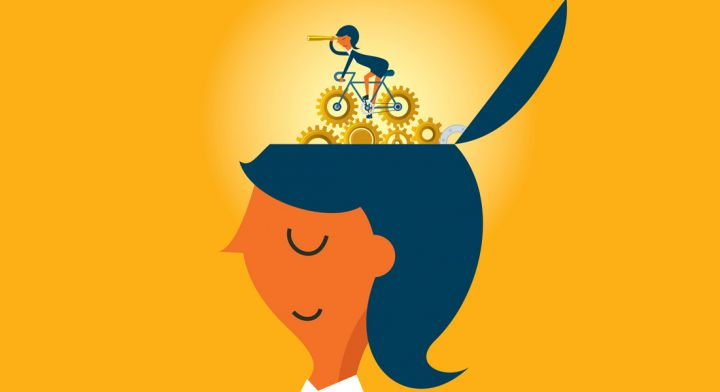 Woman with cyclist turning gears in her head