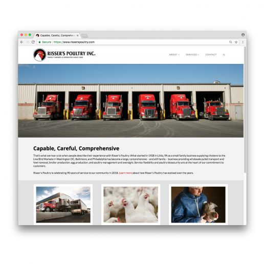 A screen shot of the Risser's Poultry website