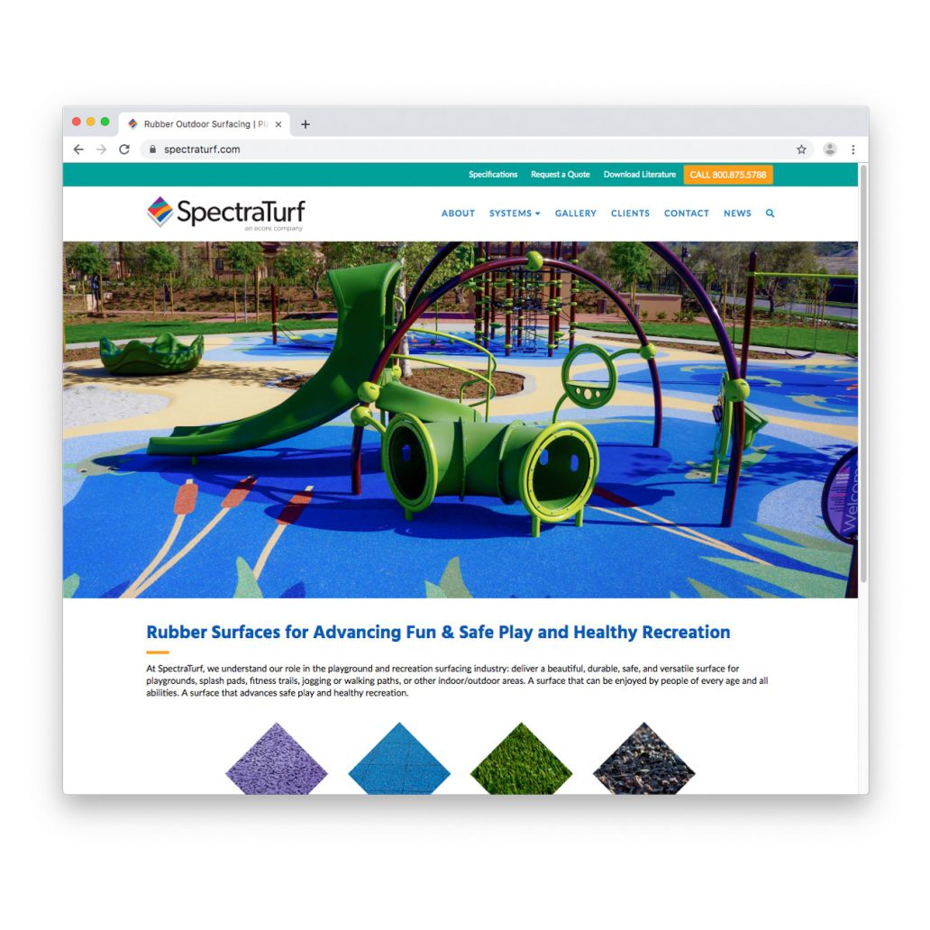 Screenshot of the SpectraTurf.com home page