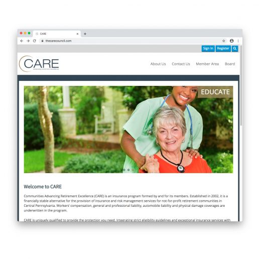 The CARE Council home page screen shot