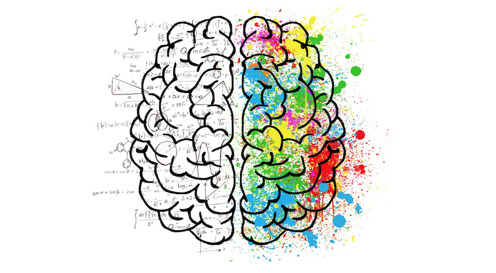 brain split in two with left side full of formulas and right side sprayed with colors