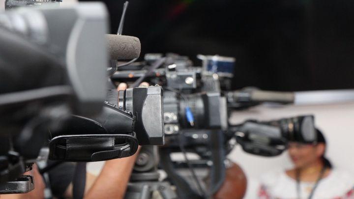 News cameras at a PR event