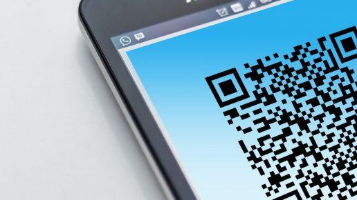 QR code on a phone screen