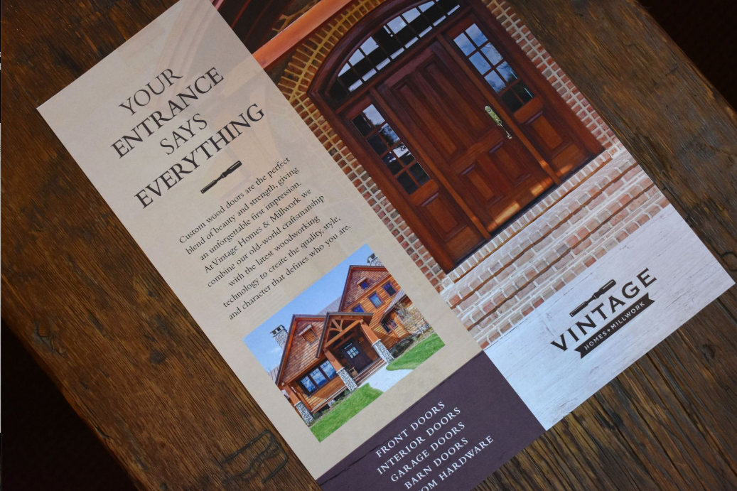Flyer for custom home and doors