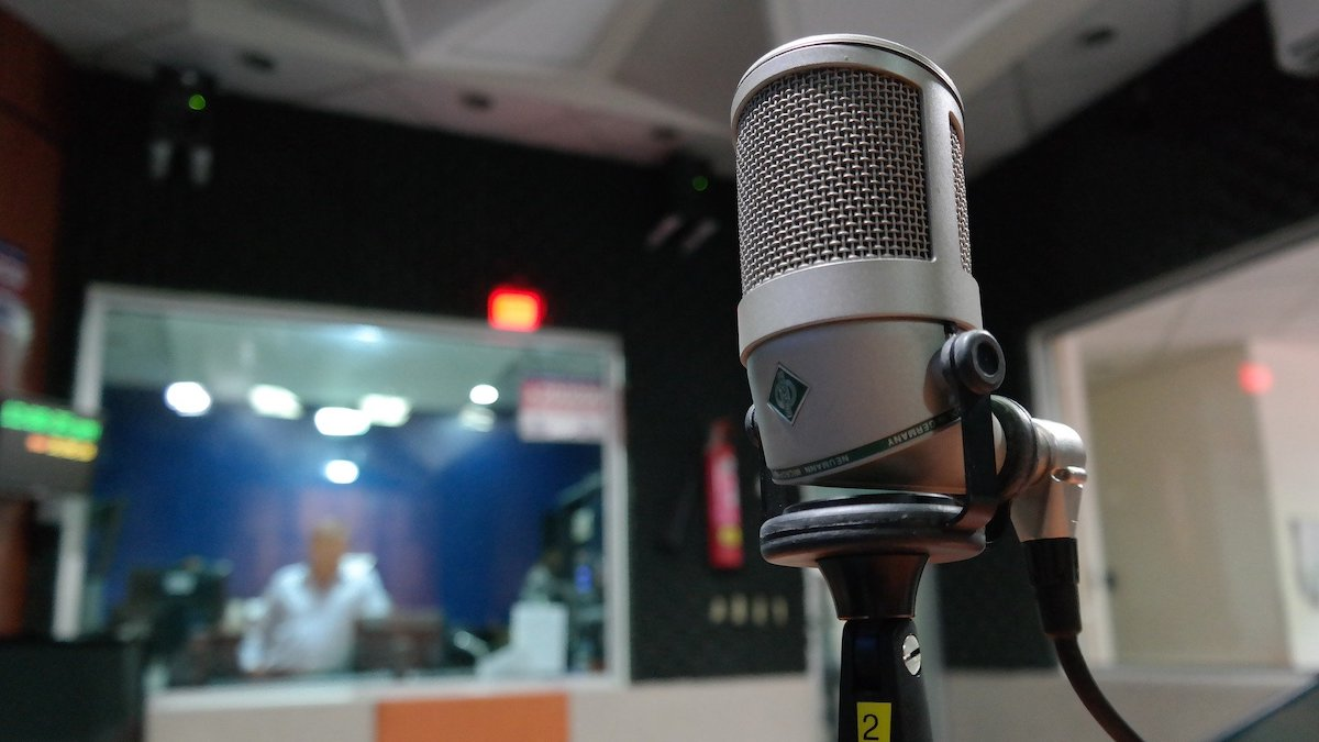 Microphone in a radio sound booth