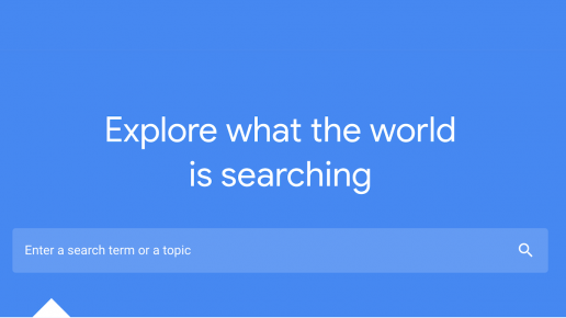 blue search box with the words