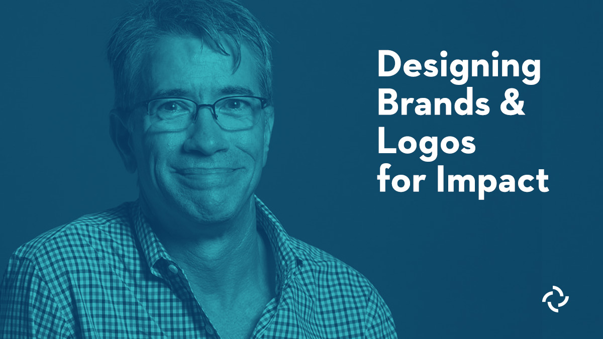 Designer Doug Hershey behind a blue tint and the title Designing Brands and Logos for Impact